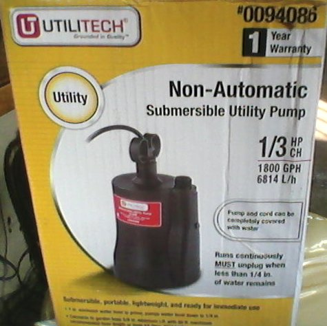 From Lowes manual Utilitech submersible utility pump, 1/3 HP, 1800GPH or 6814 L/H, #0094086